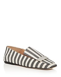 Sergio Rossi Sr1 Square Toe Loafer Flats Black White