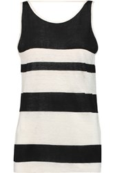 Rebecca Minkoff Mindy Striped Slub Linen Tank Off White