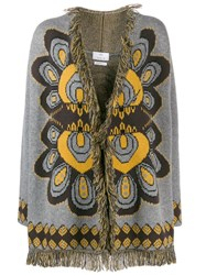 Allude Fringed Cardigan Brown