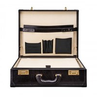 Maxwell Scott Bags Large Black Leather Attache Case Buroni