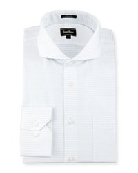 Neiman Marcus Classic Fit Textured Square And Striped Dress Shirt White