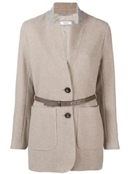 Peserico Belted Single Breasted Coat Nude And Neutrals