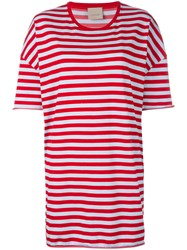 Laneus Striped Oversized T Shirt Red