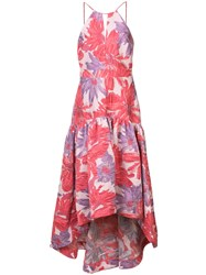 Badgley Mischka Long Floral Flared Dress Pink And Purple