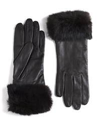 Lord And Taylor Leather Rabbit Fur Cuff Gloves Brown