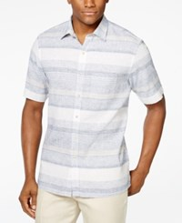 Tasso Elba Sunset Striped Short Sleeve Shirt Only At Macy's Khaki Combo