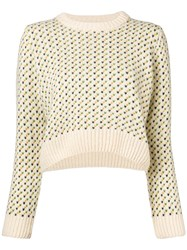 Ymc Printed Crop Jumper Nude And Neutrals