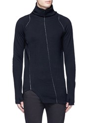 The Viridi Anne Contrast Seam Cotton Turtleneck Sweater Black