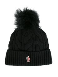 Moncler Grenoble Cable Knit Pom Pom Hat Black