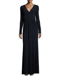 Vera Wang Solid V Neck Gown Navy
