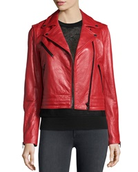 Rag And Bone Chrystie Leather Moto Jacket Red
