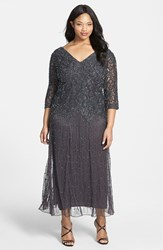 Plus Size Women's Pisarro Nights Beaded V Neck Lace Illusion Gown Slate