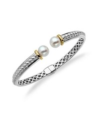 Lord And Taylor Sterling Silver And14kt. Yellow Gold Freshwater Pearl Bangle Bracelet