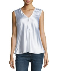 Brunello Cucinelli Sleeveless Silk Blend Top White