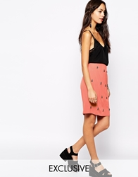 Fallen Star Pencil Skirt With Embellishment Coral