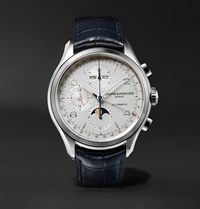 Baume And Mercier Clifton Automatic Chronograph 43Mm Stainless Steel Alligator Watch White