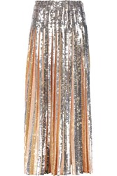Emilio Pucci Pleated Sequin Embellished Crepe Maxi Skirt Neutral
