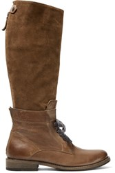 Brunello Cucinelli Leather And Suede Knee Boots Brown