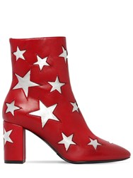 Saint Laurent 75Mm Mica Star Leather Ankle Boots Red Silver