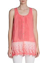 Saks Fifth Avenue Coile Embroidered Trim Tank Pink