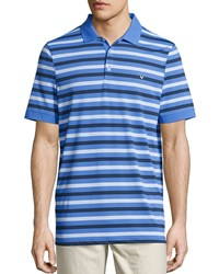 Callaway Short Sleeve Striped Polo Shirt Palace Blue