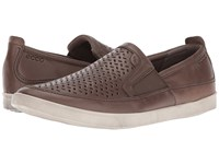 Ecco Collin Perforated Slip On Dark Clay Cow Nubuck Men's Slip On Shoes Brown
