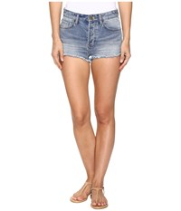 Amuse Society Easton Mid Rise Denim Shorts In Faded Indigo Faded Indigo Women's Shorts Blue