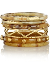 Ashley Pittman Umbo Set Of 6 Horn And Gold Tone Bangles
