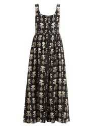 Athena Procopiou Quiet Love Floral Print Silk Midi Dress Black White
