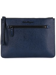 Salvatore Ferragamo Slim Clutch Blue