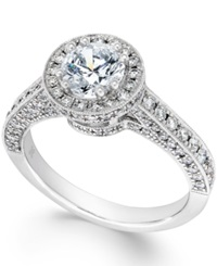 Macy's Certified Diamond Halo Engagement Ring In 18K White Gold 1 7 8 Ct. T.W.