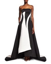 Prabal Gurung Strapless Colorblock A Line Gown Black White