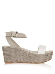 Max Mara Calabra Leather Sandals Light Grey