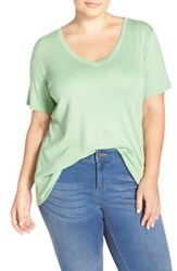 Plus Size Women's Sejour Short Sleeve V Neck Tee Green Zephyr