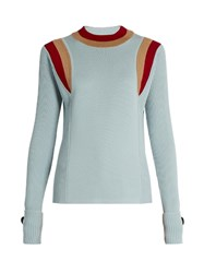 Marni Contrasting Knit Wool Sweater Light Blue