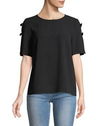 Cynthia Steffe Bow Ladder Sleeve Tee Black