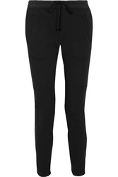 James Perse Cotton Blend Twill Tapered Pants Black