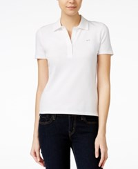 Armani Exchange Short Sleeve Polo Top Solid White