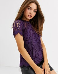 Lipsy Lace Top In Purple Red
