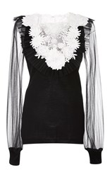 Naeem Khan Floral Embroidered Sweater Black White