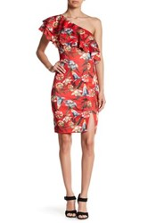 Alexia Admor Ruffle One Shoulder Floral Dress Red