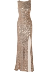 Badgley Mischka Draped Sequined Tulle Gown Antique Rose