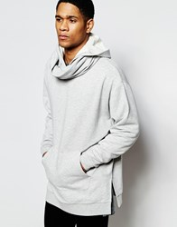 Asos Longline Oversized Hoodie With Extreme Funnel In Grey Marl Grey