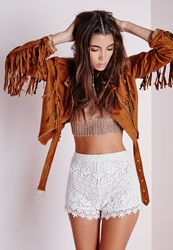 Missguided Crochet Lace Hotpants White