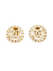 Chanel Vintage Rhinestone Embellished Logo Earrings Metallic