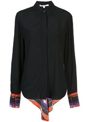 Derek Lam 10 Crosby Long Sleeve Button Down Shirt With Contrast Back Black