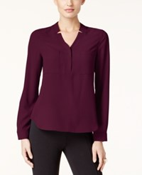 Nine West Long Sleeve Crepe Top Wine