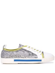 Carven Sequin Sneakers Silver