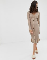 Moon River Button Through Knitted Dress Brown