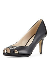 Cole Haan Lena Patent Open Toe Pump Black